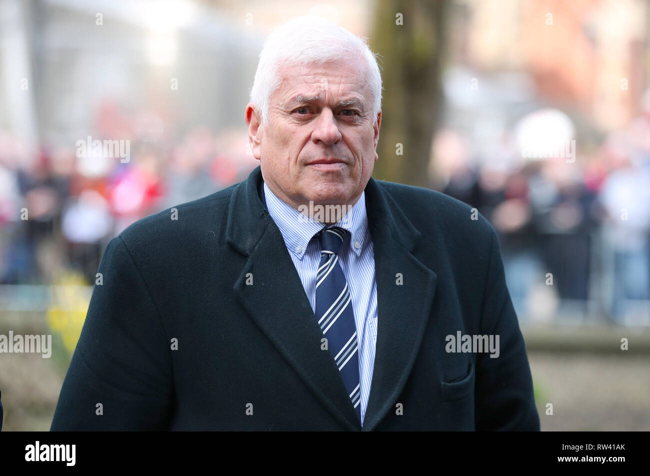Peter Ridsdale arrives at the funeral service for Gordon Banks at Stoke Minster. - Stock Image