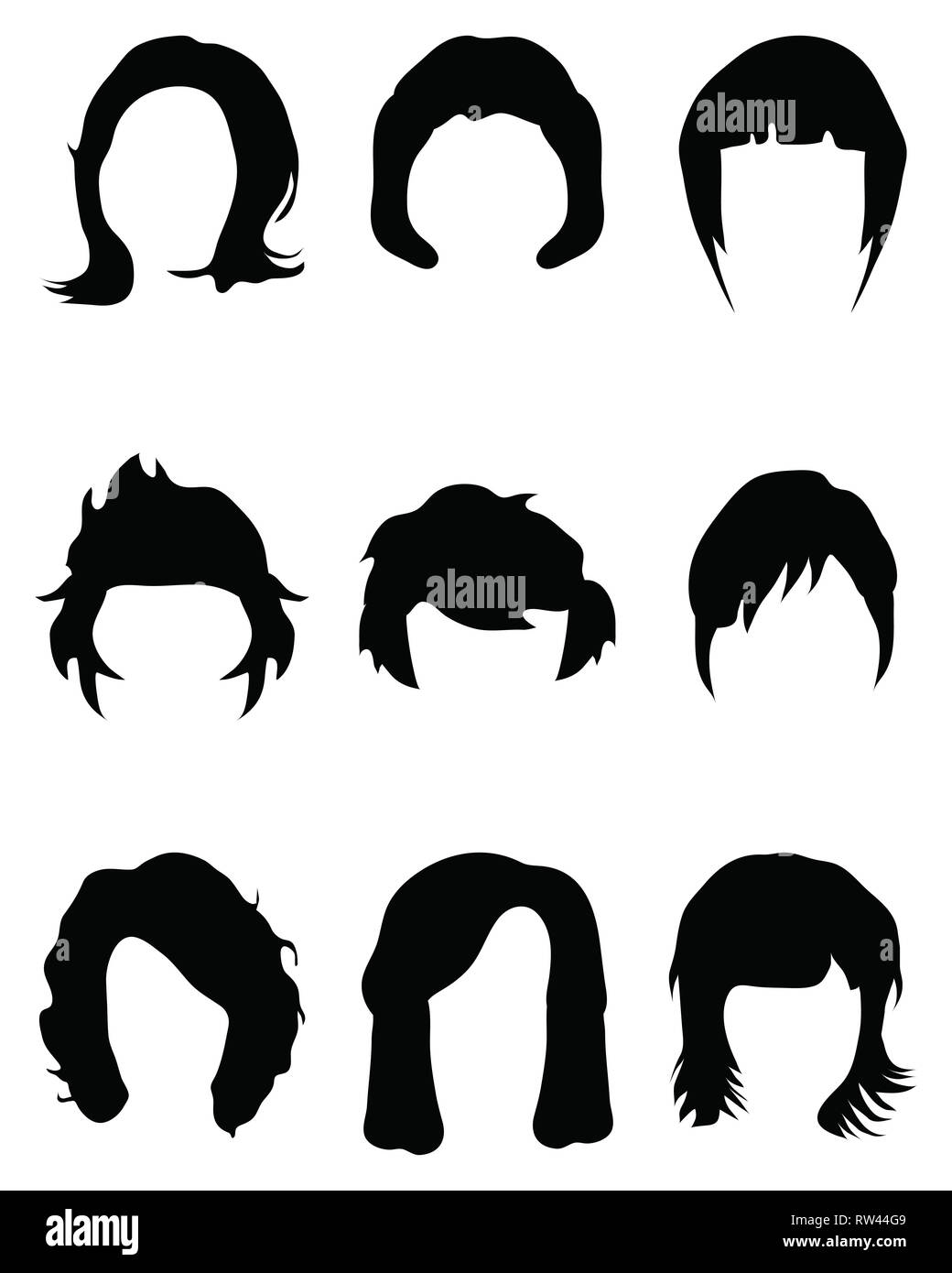 Silhouettes of hair styling on a white background - Stock Image