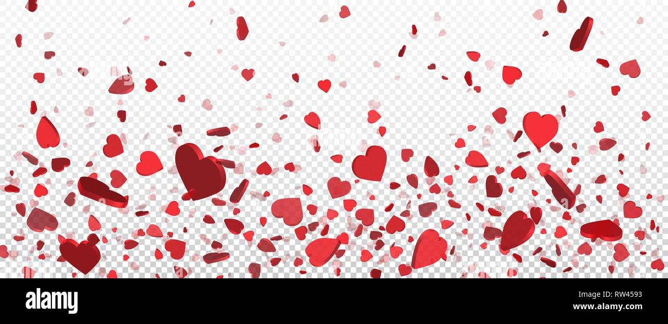 Red Flying Heart Confetti Valentines Day Background Design Element