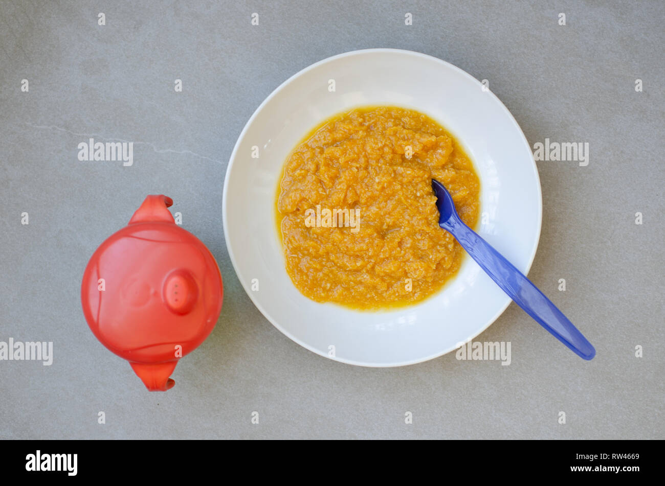 Bowl of baby food made with pureed chicken and carrot - Stock Image