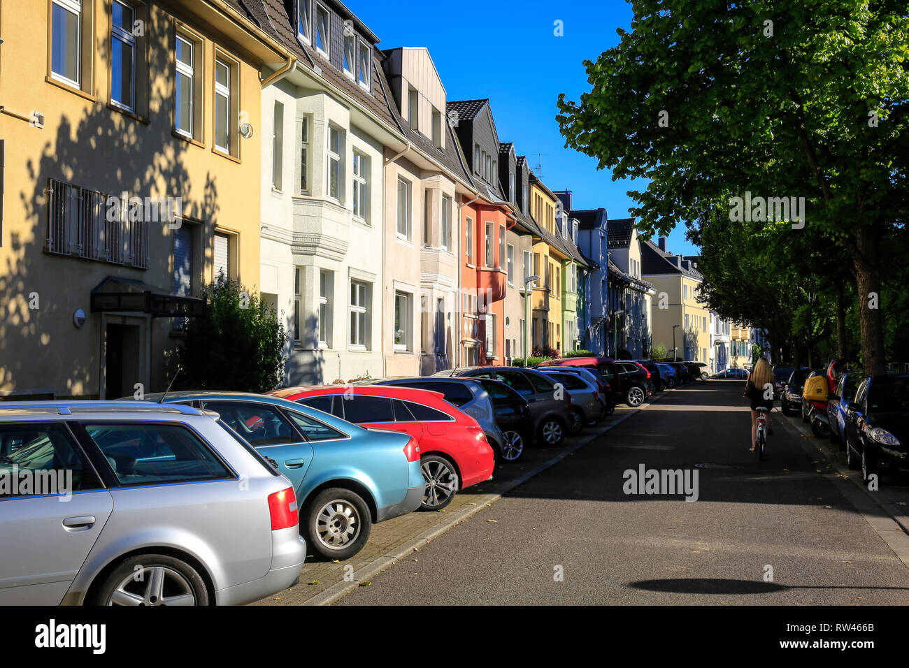 Essen, North Rhine-Westphalia, Ruhr area, Germany, here the Schinkelstra§e in the Moltke quarter with many listed buildings, photographed on the occas Stock Photo