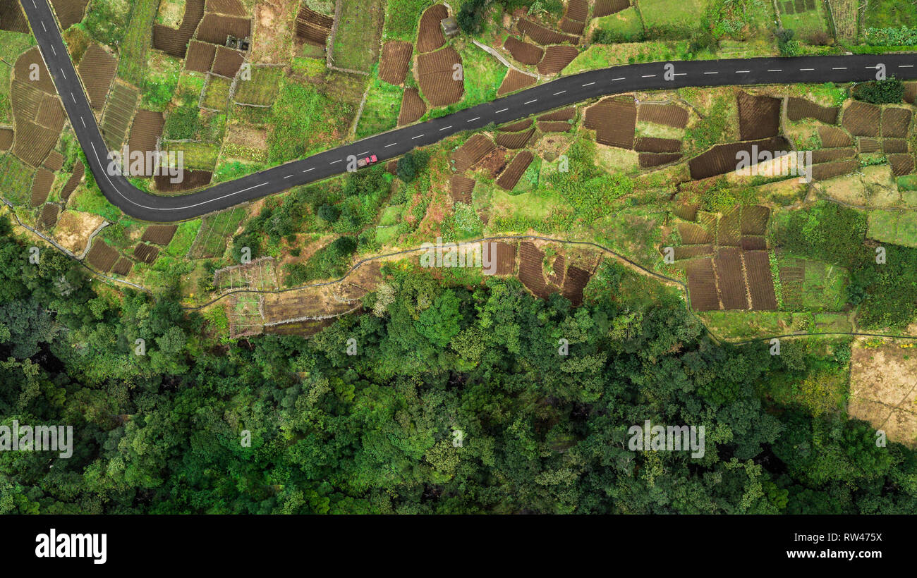 Top view from drone of a farmland in 'Chao da Ribeira', Madeira island, Portugal. - Stock Image