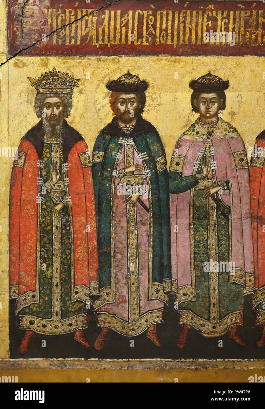 Saint Vladimir the Great with Saints Boris and Gleb (from left to right) depicted in the detail of the Russian icon of the Yaroslavl icon painting school dated from the 1640s from the Dormition Cathedral in Yaroslavl, now on display in the Yaroslavl Museum Preserve in Yaroslavl, Russia. - Stock Image