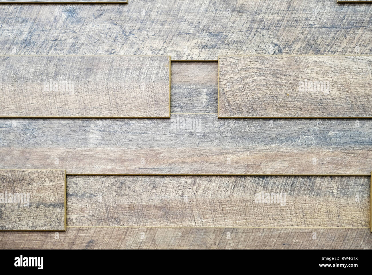 Warehouse production and woodworking. Medium density fiberboard typesetting. Selective focus - Stock Image