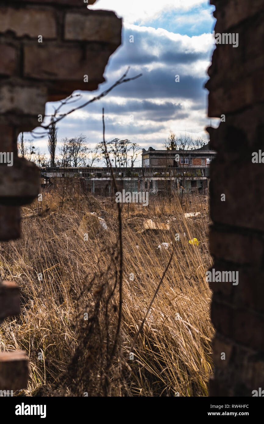 Apocaliptic view on abandoned chemical fiber factory - Chemitex - Stock Image