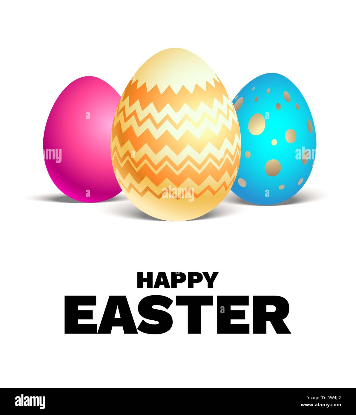 Happy Easter holiday card. Realistic colored Easter eggs isolated. Festive vector illustration. - Stock Vector