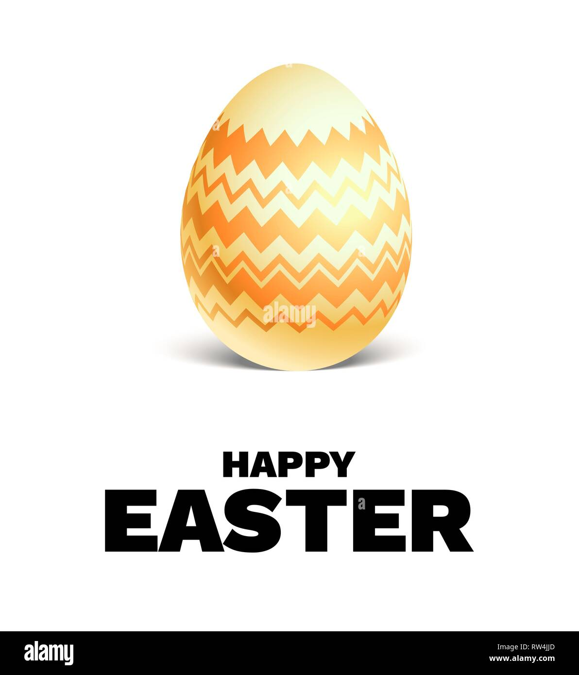 Happy Easter holiday card. Realistic colored Easter egg isolated. Festive vector illustration. - Stock Image