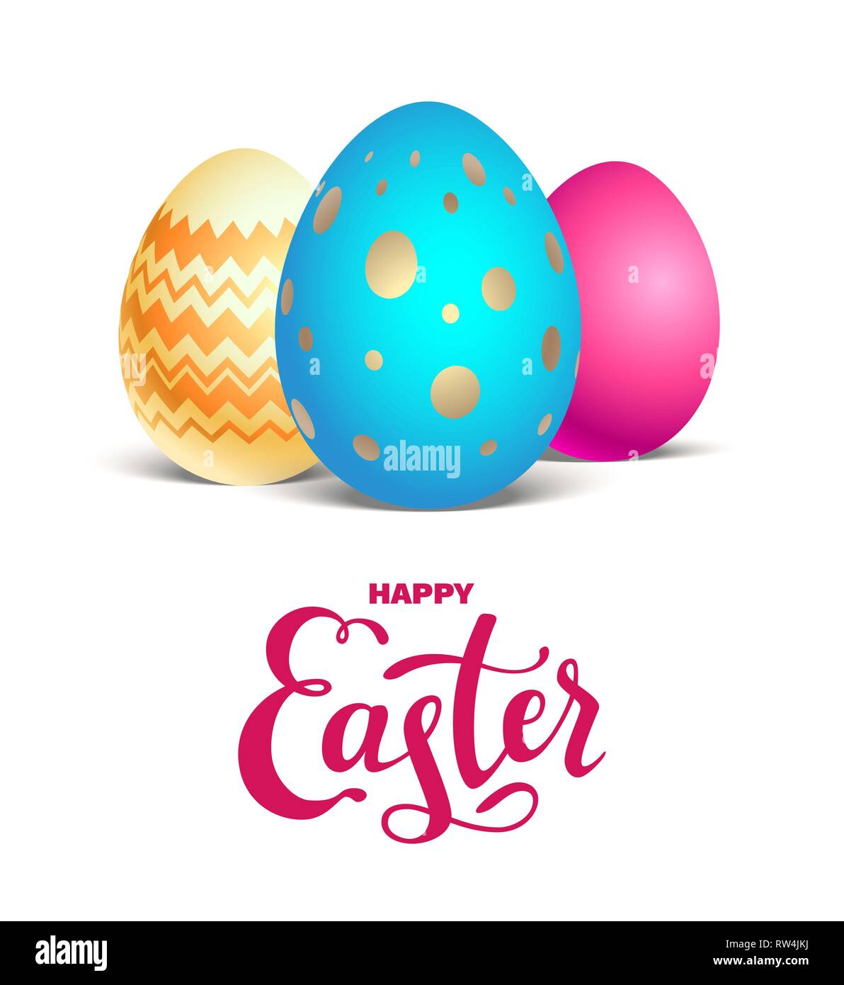 Happy Easter holiday card. Realistic colored Easter eggs isolated. Festive vector illustration. - Stock Image