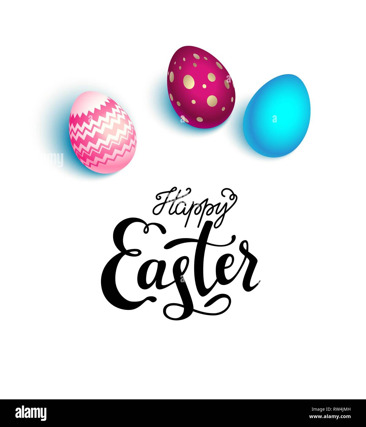 Happy Easter holiday card. Realistic colored Easter eggs isolated. Flat lay illustration. - Stock Image