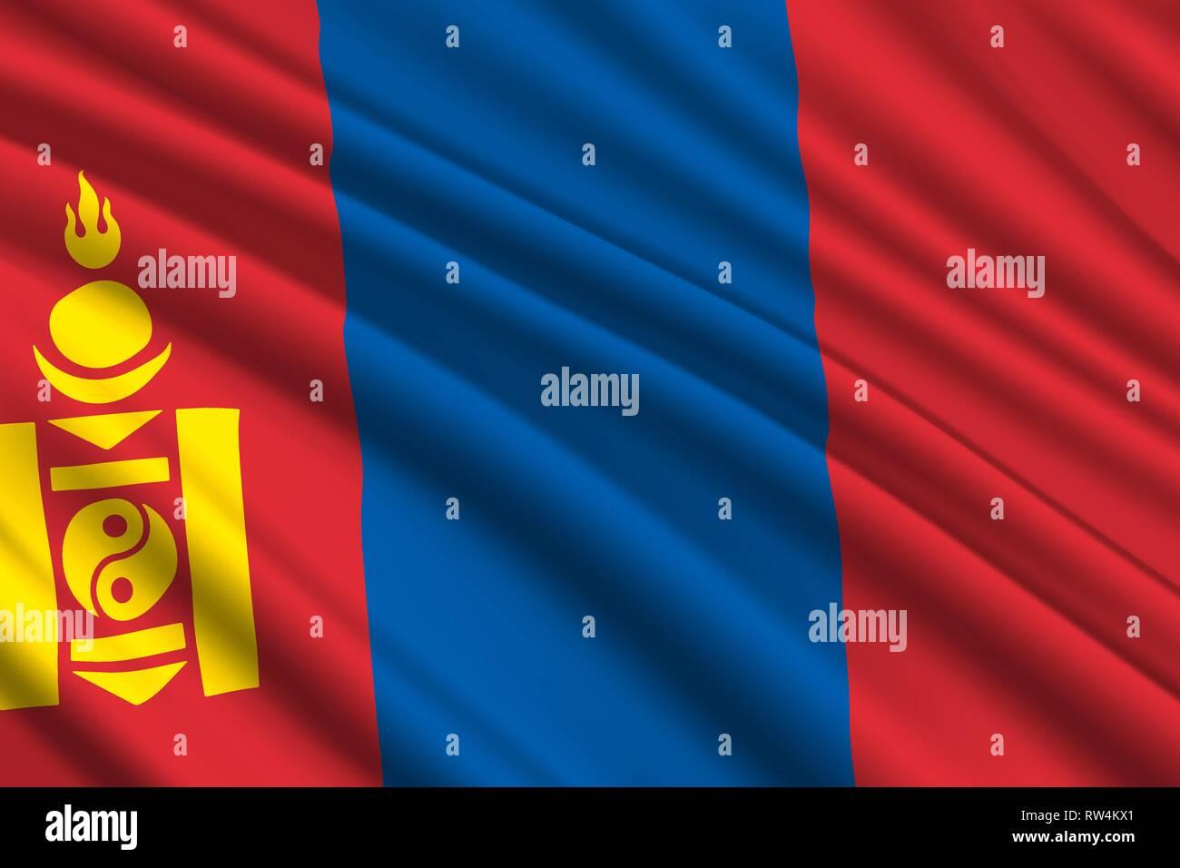 waving flag of Mongolia. Vector illustration - Stock Vector