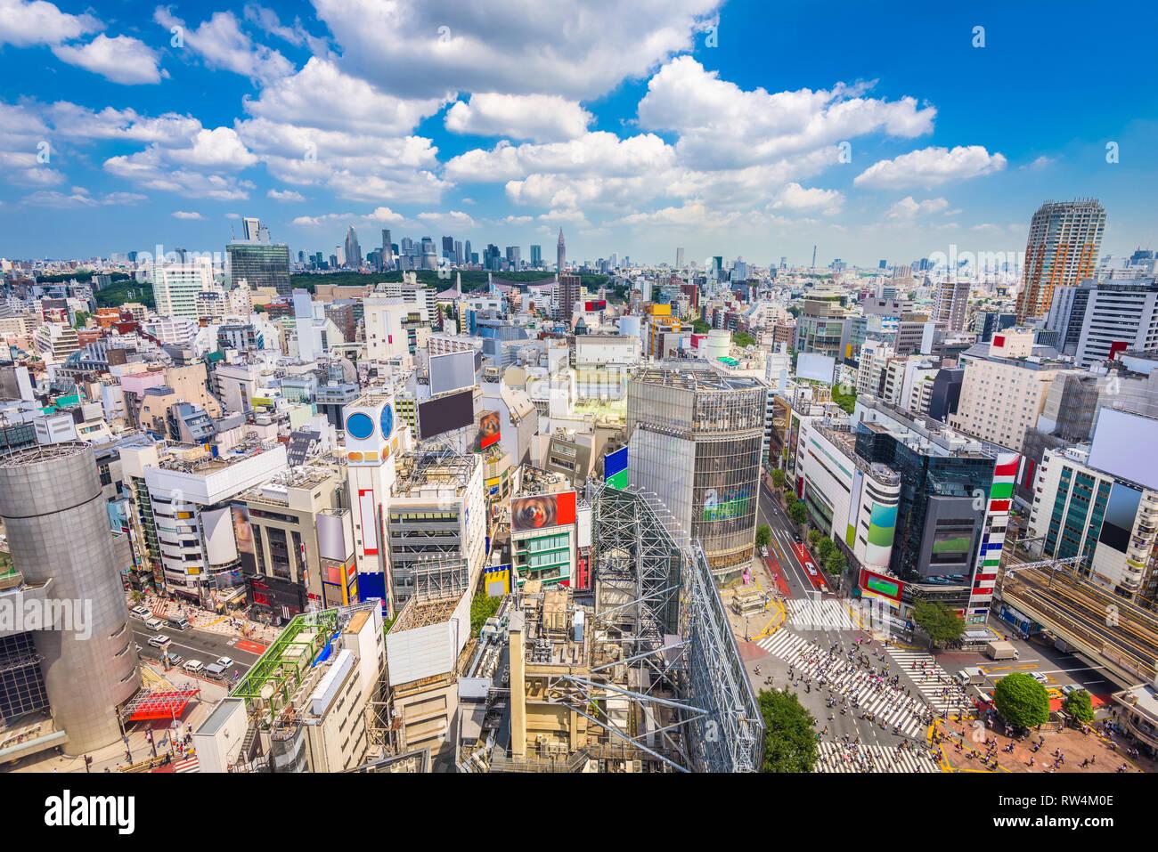 Shibuya, Tokyo, Japan city skyline over Shibuya Scramble Crosswalk in the afternoon. - Stock Image