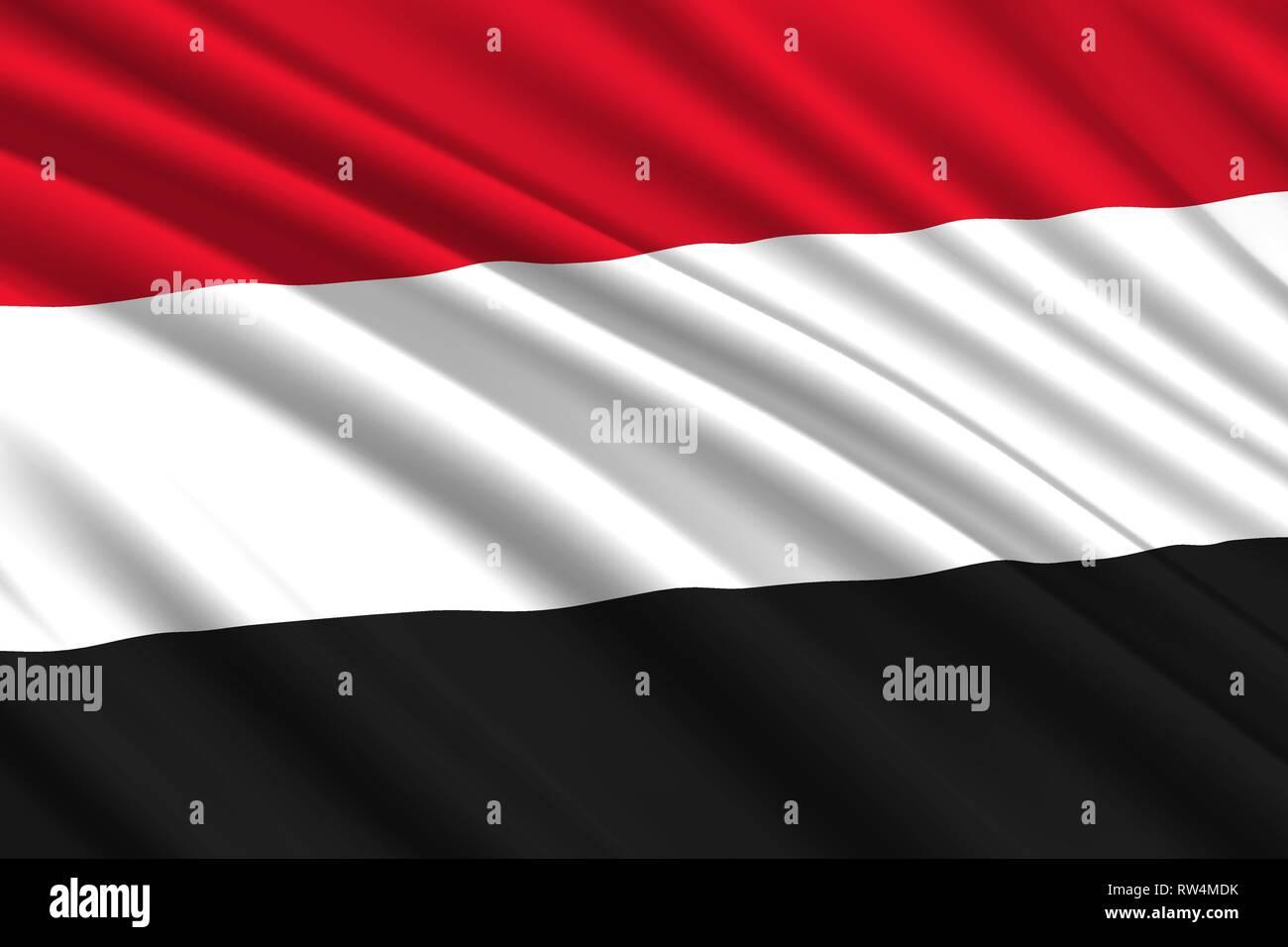 waving flag of Yemen. Vector illustration - Stock Vector
