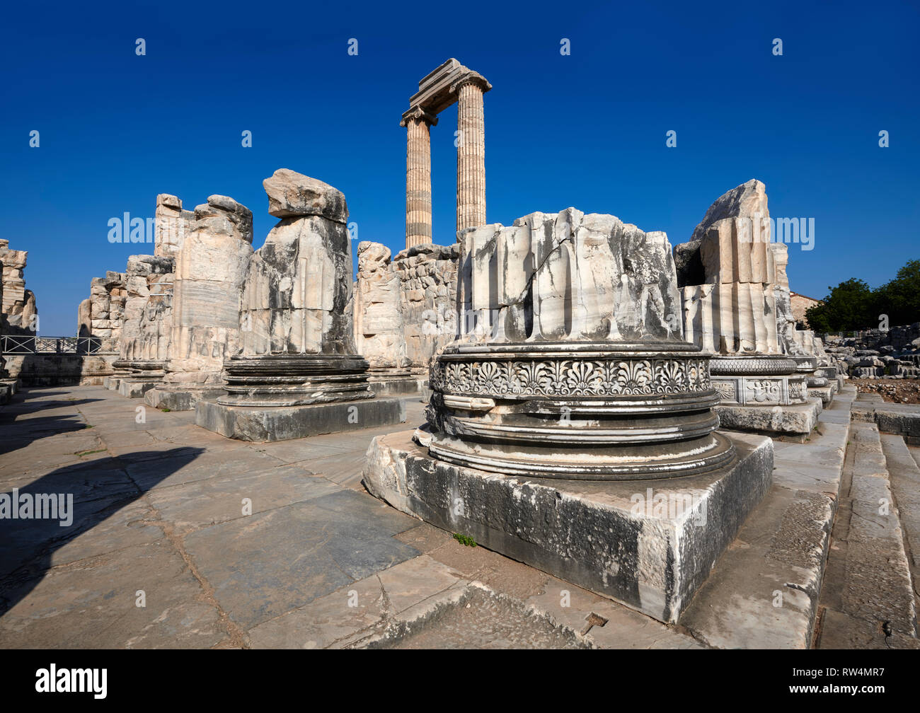 Picture of the Ionian columns of the ruins of the Ancient Ionian Greek  Didyma Temple of Apollo & home to the Oracle of Apollo.  Also known as the Did - Stock Image