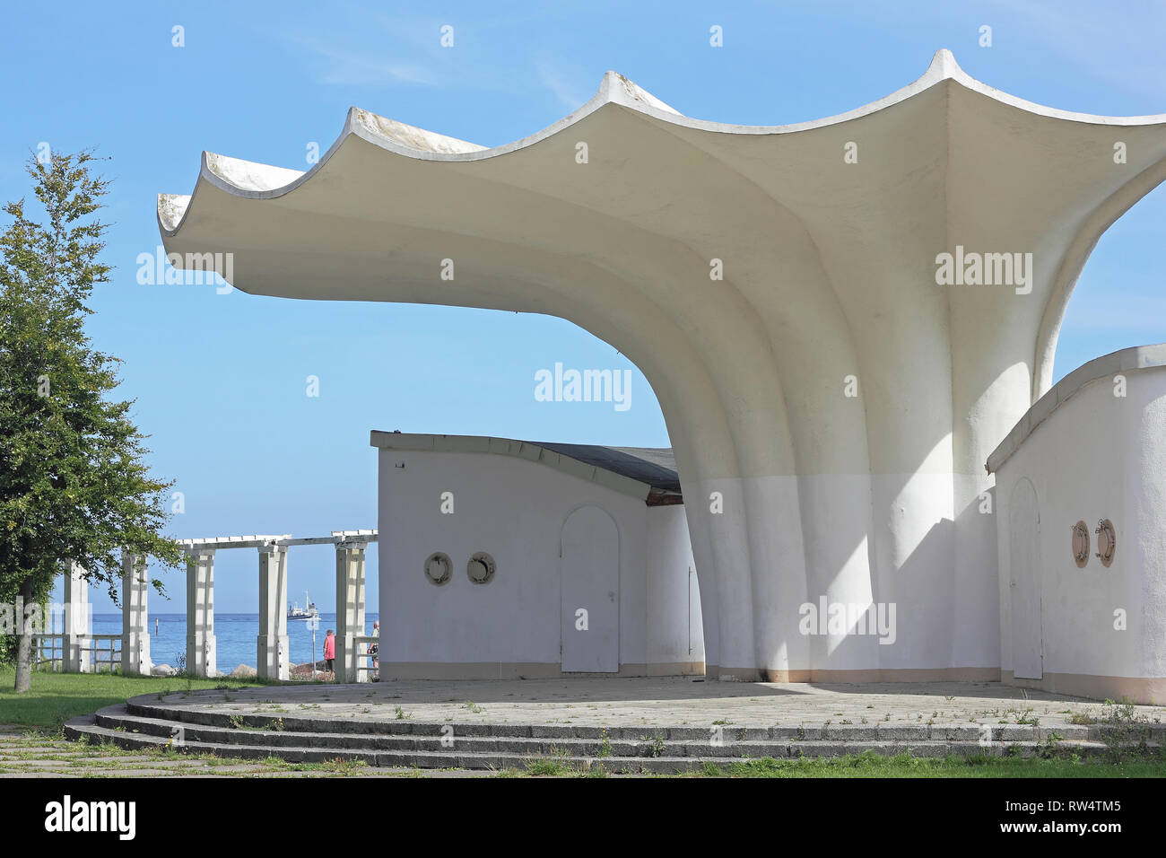Bandstand in form of a shell in Sassnitz on the island of Rügen in Germany - Stock Image