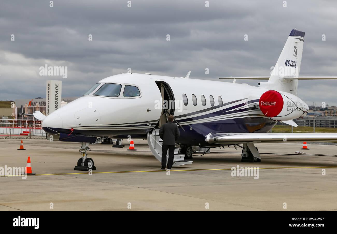 ISTANBUL, TURKEY - SEPTEMBER 30, 2018: Textron Aviation Cessna 680A