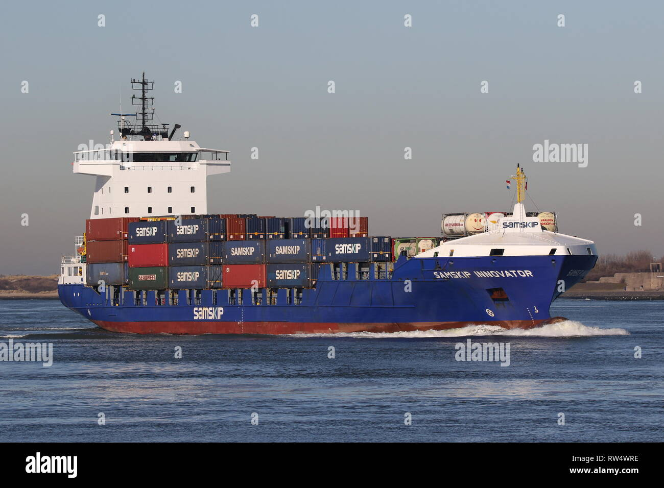 The container ship Samskip Innovator reaches the port of