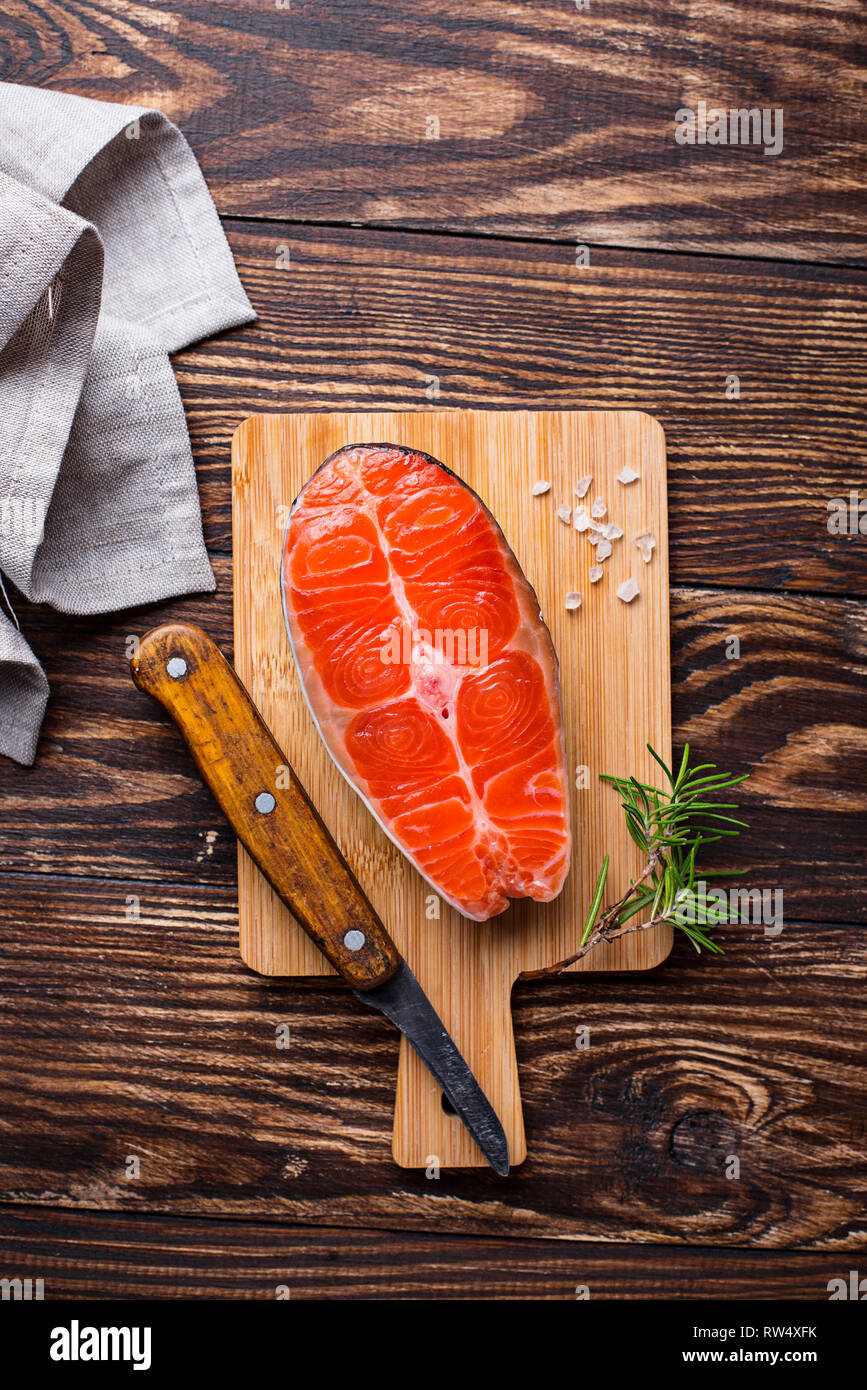 Fresh salmon steak with spices and rosemary - Stock Image
