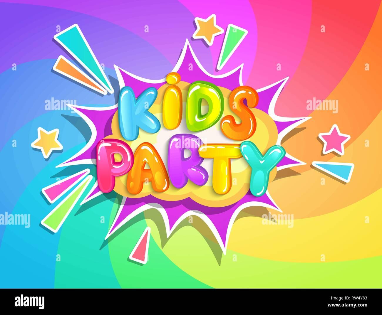 Kids party banner on rainbow swirl spiral background in