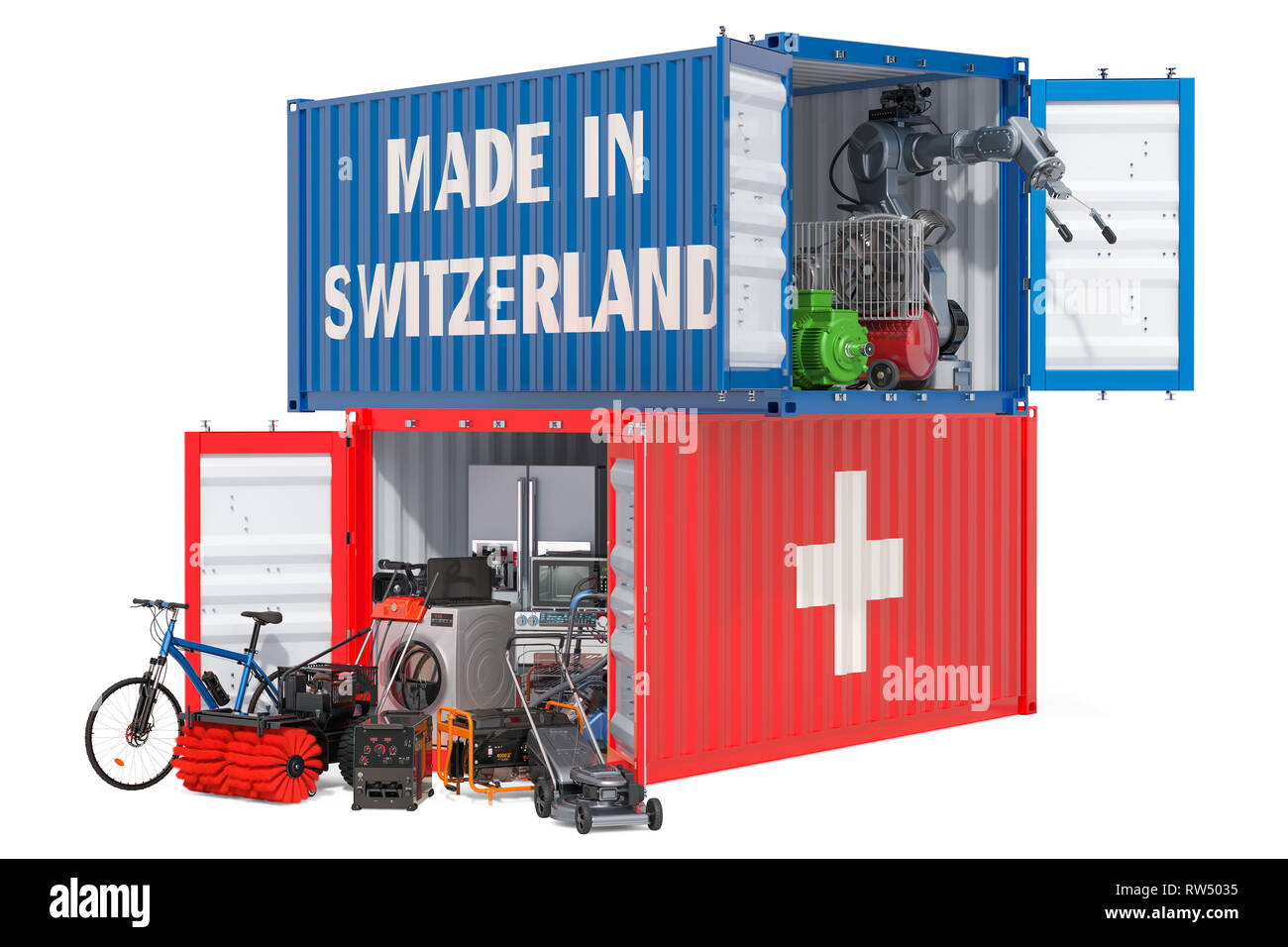 Production and shipping of electronic and appliances from Switzerland, 3D rendering isolated on white background - Stock Image