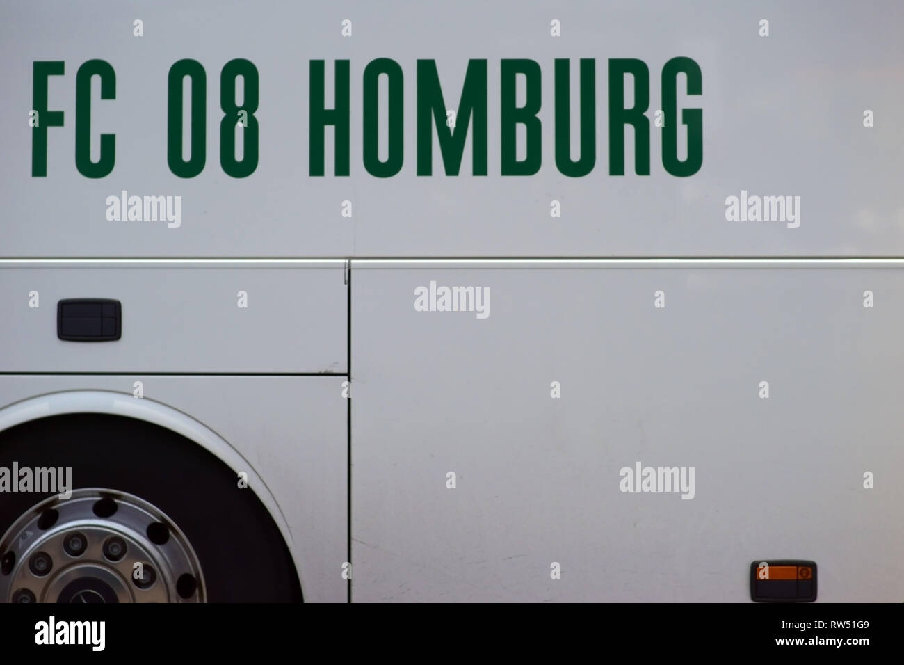 Mainz, Germany - March 01, 2019: The logo of the football club 1. FC 08 Homburg on the team bus to a game of Regional league on March 01, 2019 in Main - Stock Image
