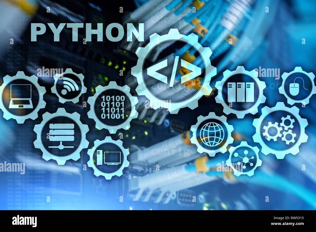 Python Programming Language on server room background