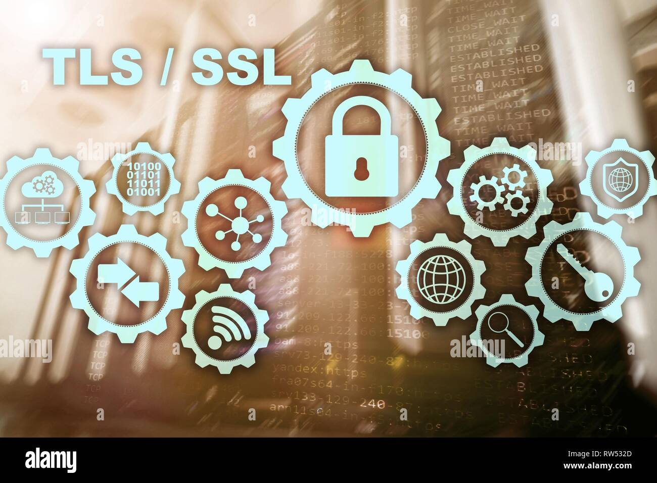Transport Layer Security. Secure Socket Layer. TLS SSL. ryptographic protocols provide secured communications - Stock Image