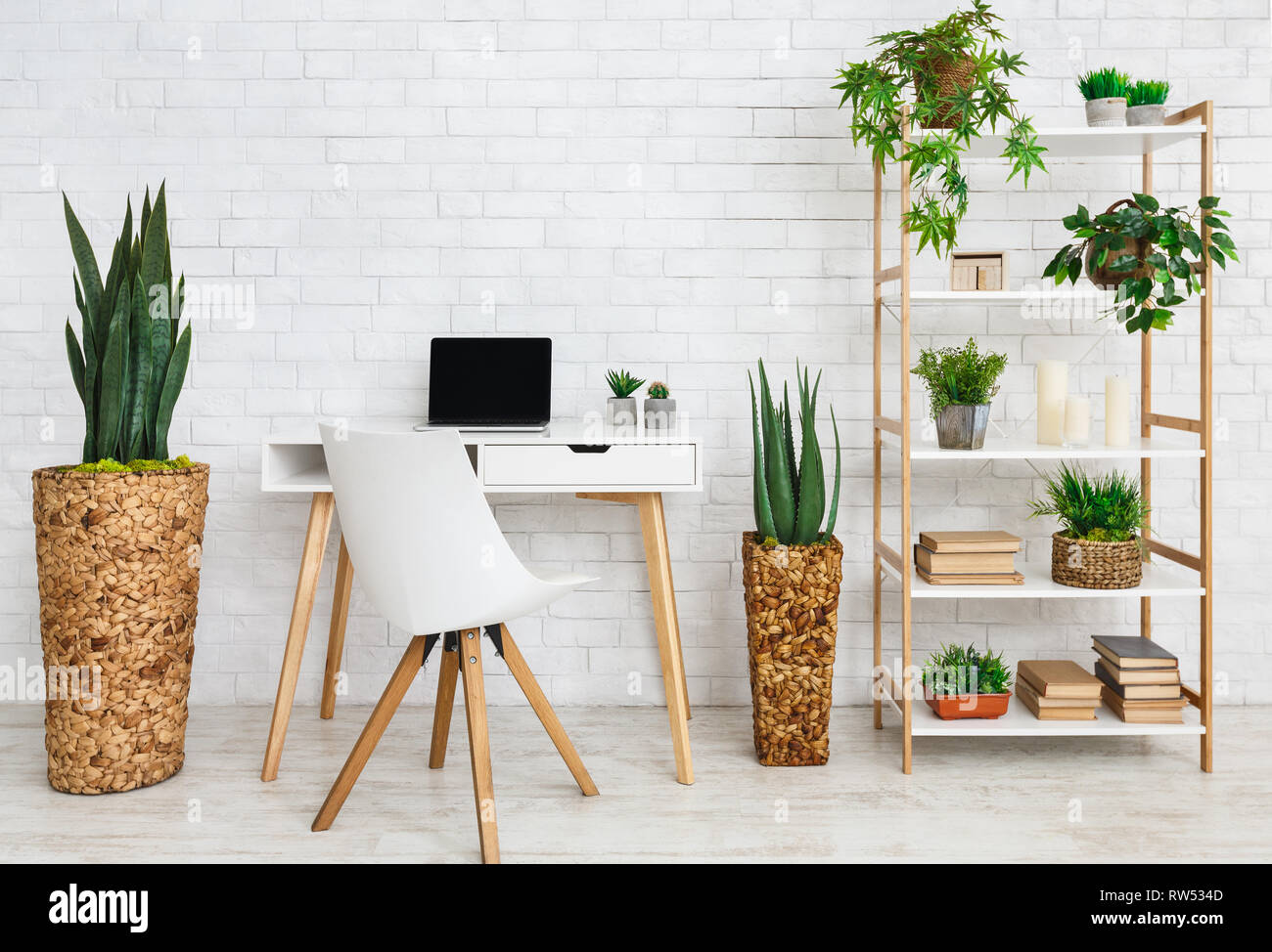 Modern work place, copy space - Stock Image