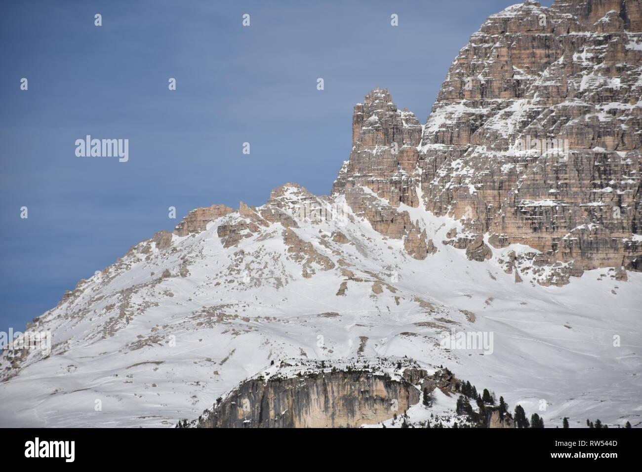 Italien, Dolomiten, Drei Zinnen, Monte Piano, Zinnen, Winter, Fels, Eis, Schnee, See, Monte Cristallo, Cima Cadin di San Lucano, 3 Cime, 3 Cime di Lav Stock Photo