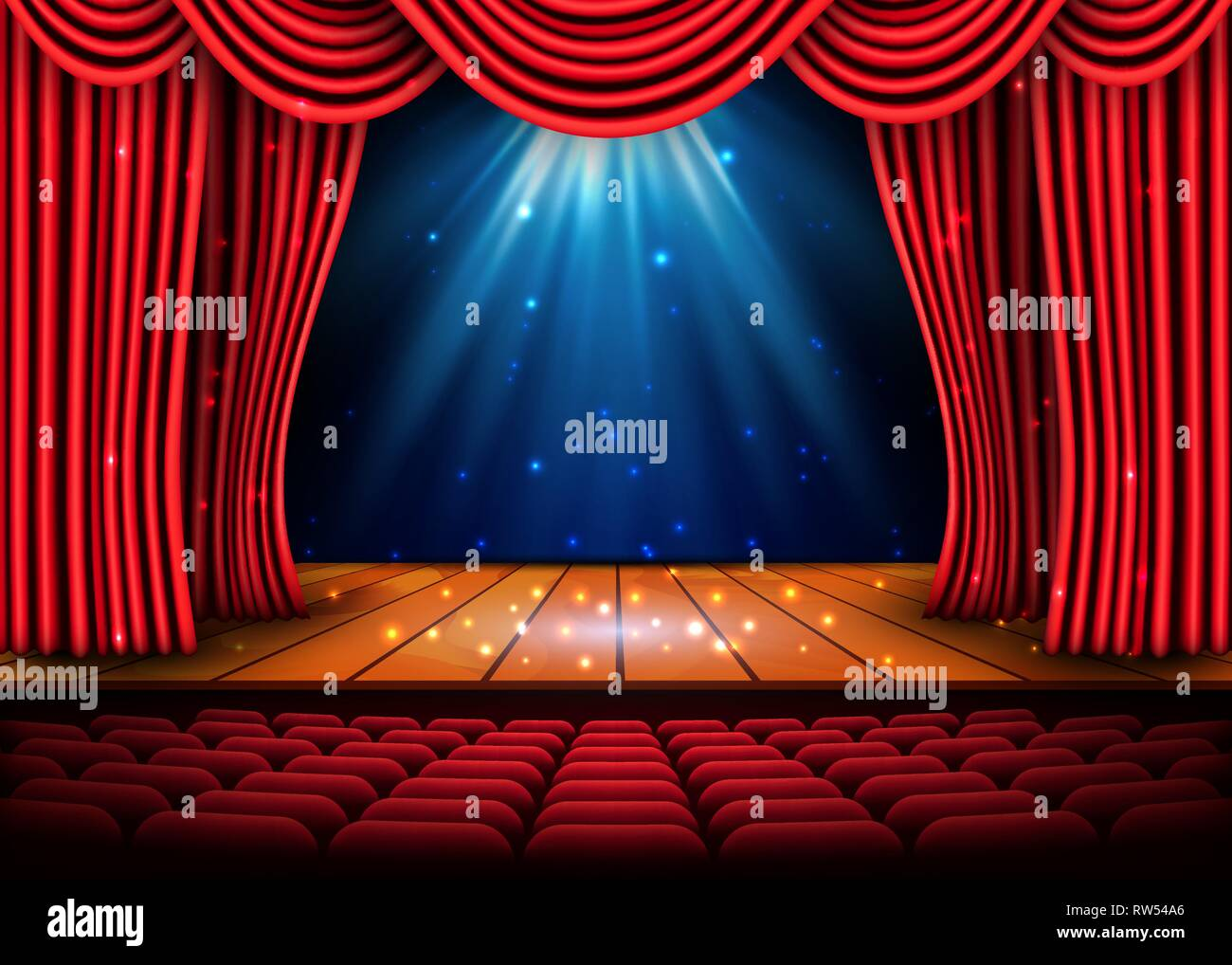 A theater stage with a red curtain and a spotlight and wooden floor. Festival Night Show poster. Vector. - Stock Vector