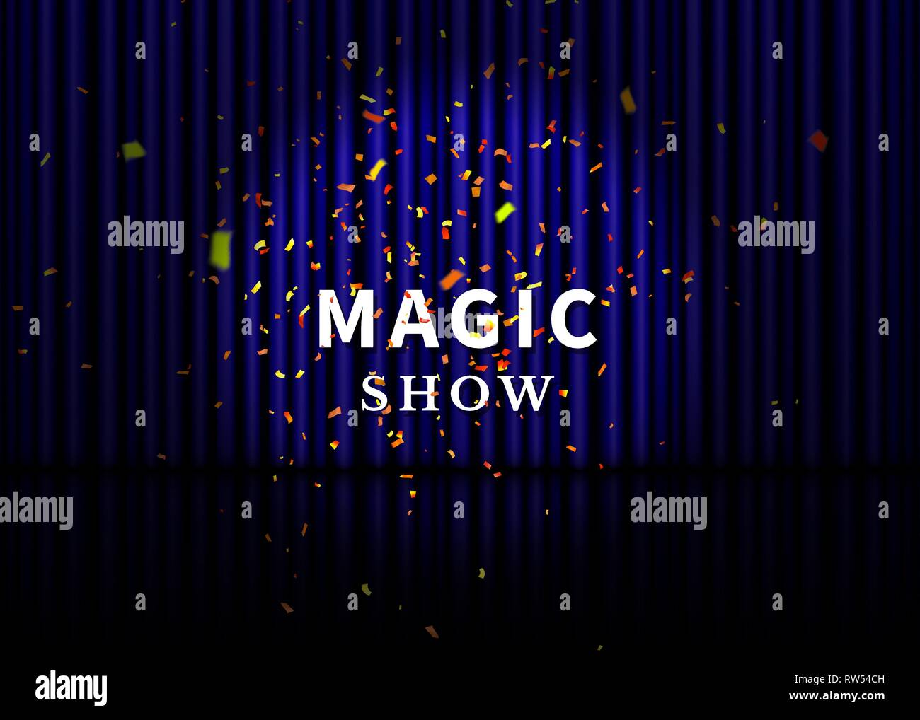 Theater stage with blue curtain, spotlight, reflection and confetti. Magic Show poster. Vector. - Stock Vector