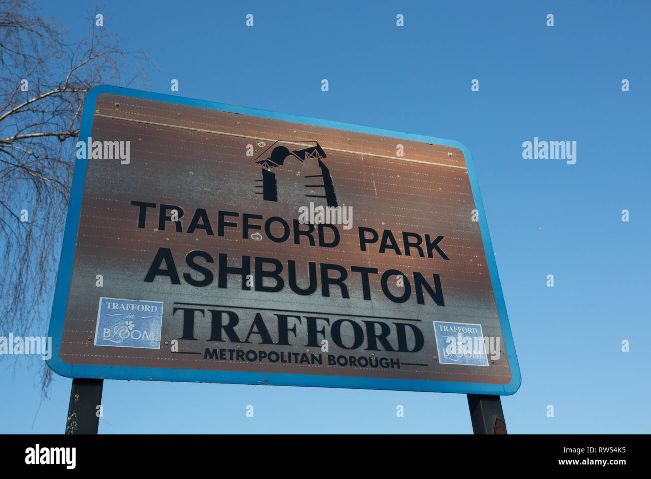 Trafford Park, Ashburton, Greater Manchester sign - Stock Image