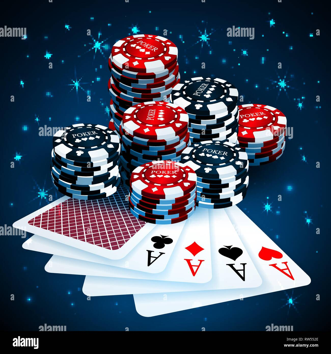 Vector Illustration On A Casino Theme With Playing Chips And Playig Cards On Dark Background Gambling Design Elements Four Aces And Poker Chips Sta Stock Vector Image Art Alamy