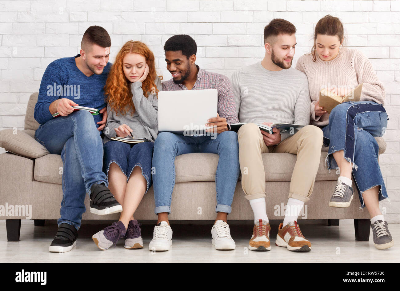 Diverse students preparing for exams and studying at home - Stock Image