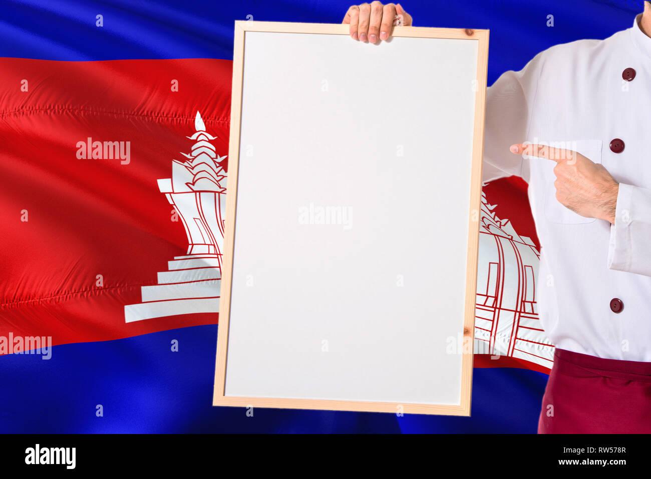 Man Holding Cambodian Flag Stock Photos & Man Holding