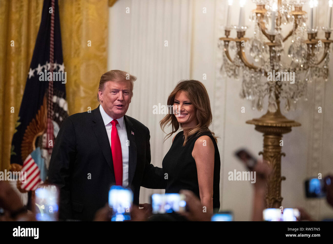 U.S. President Donald Trump and First Lady Melania Trump arrive at a National African American History Month reception in Washington, D.C., U.S., on Thursday, Feb. 21, 2019. - Stock Image