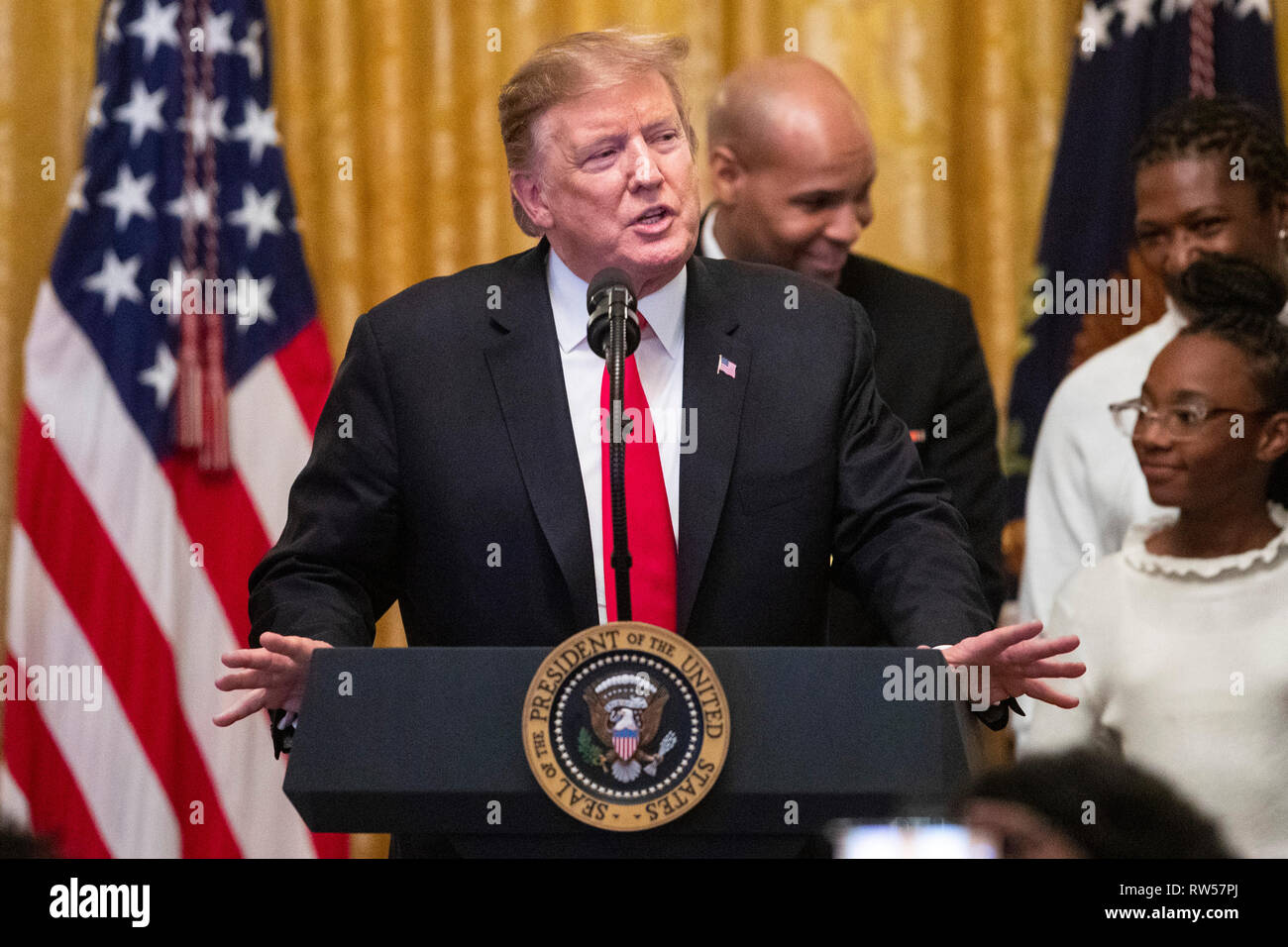 U.S. President Donald Trump speaks at a National African American History Month reception at the White House in Washington, D.C., U.S., on Thursday, Feb. 21, 2019. - Stock Image
