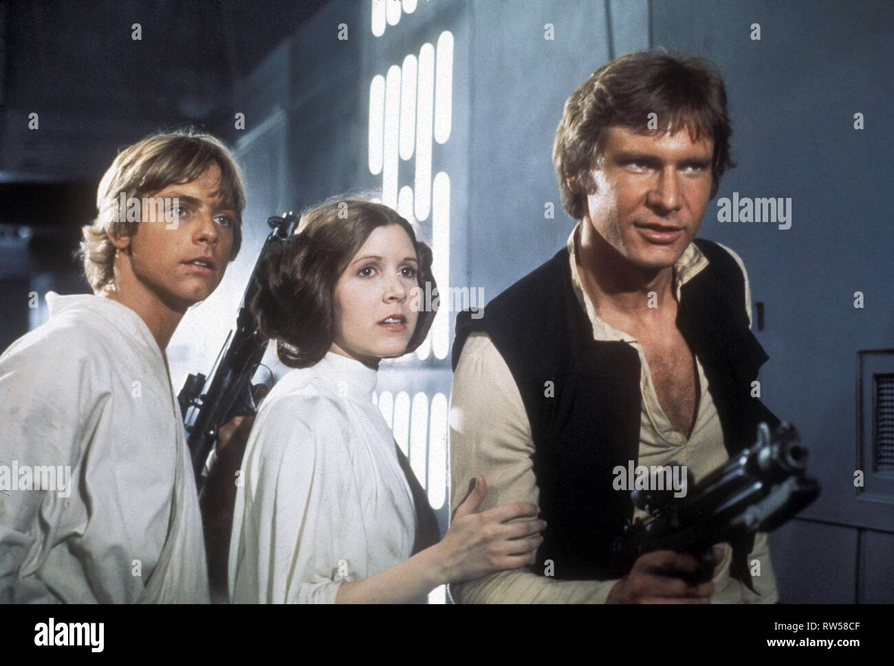 HAMILL,FISHER,FORD, STAR WARS: EPISODE IV - A NEW HOPE, 1977 - Stock Image