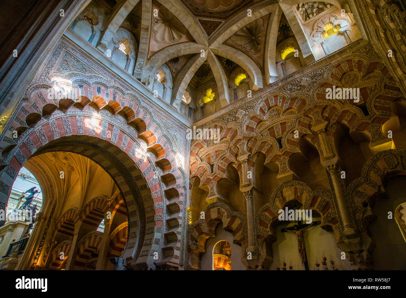 Mosque Cathedral, indoor view. Cordoba, Spain. - Stock Image