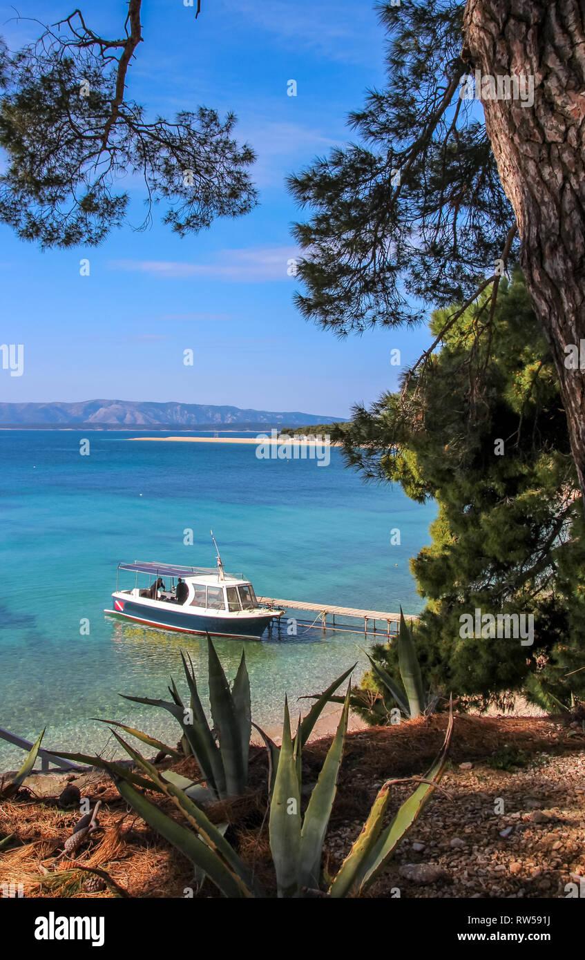 lovely sand beach coastline called golden horn, bol croatia - Stock Image