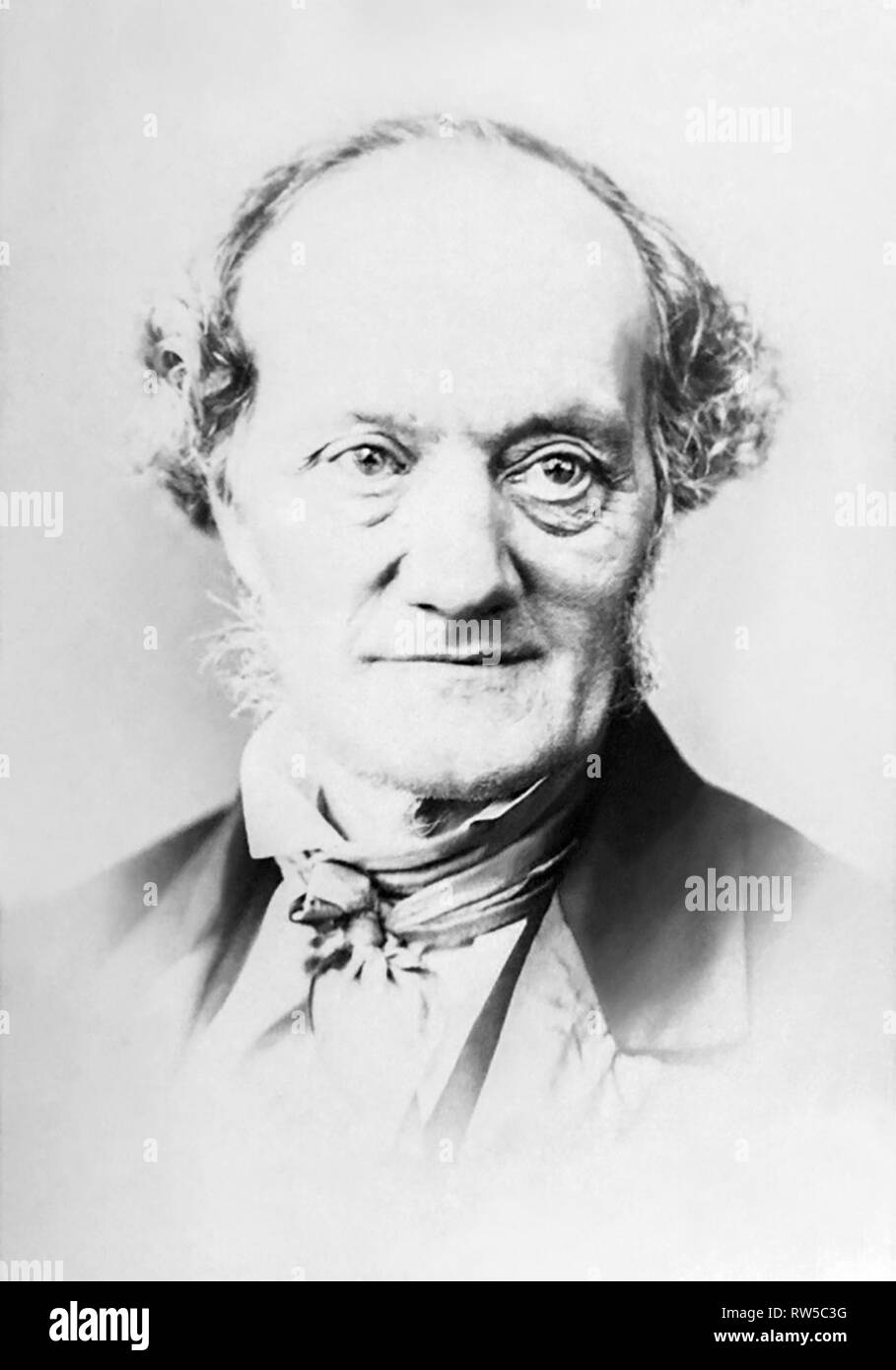 Sir Richard Owen KCB FRS (1804-1892) in an 1860s portrait by Elliott & Fry. Owen was an English biologist, comparative anatomist, and paleontologist who coined the term dinosauria, from which we derive the word dinosaur. He was also an outspoken critic of Charles Darwin's theory of evolution by natural selection. - Stock Image