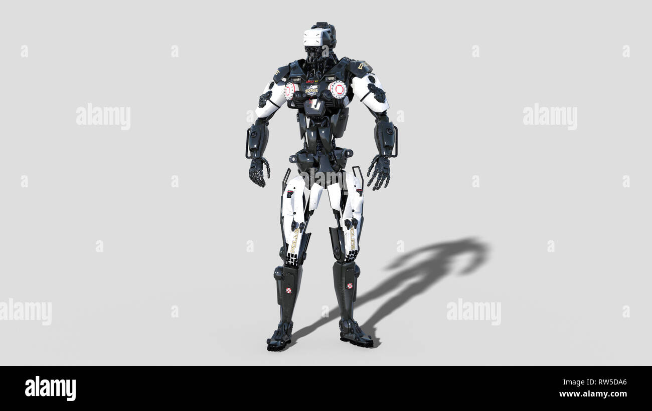 Police robot, law enforcement cyborg, android cop isolated on white background, 3D rendering Stock Photo
