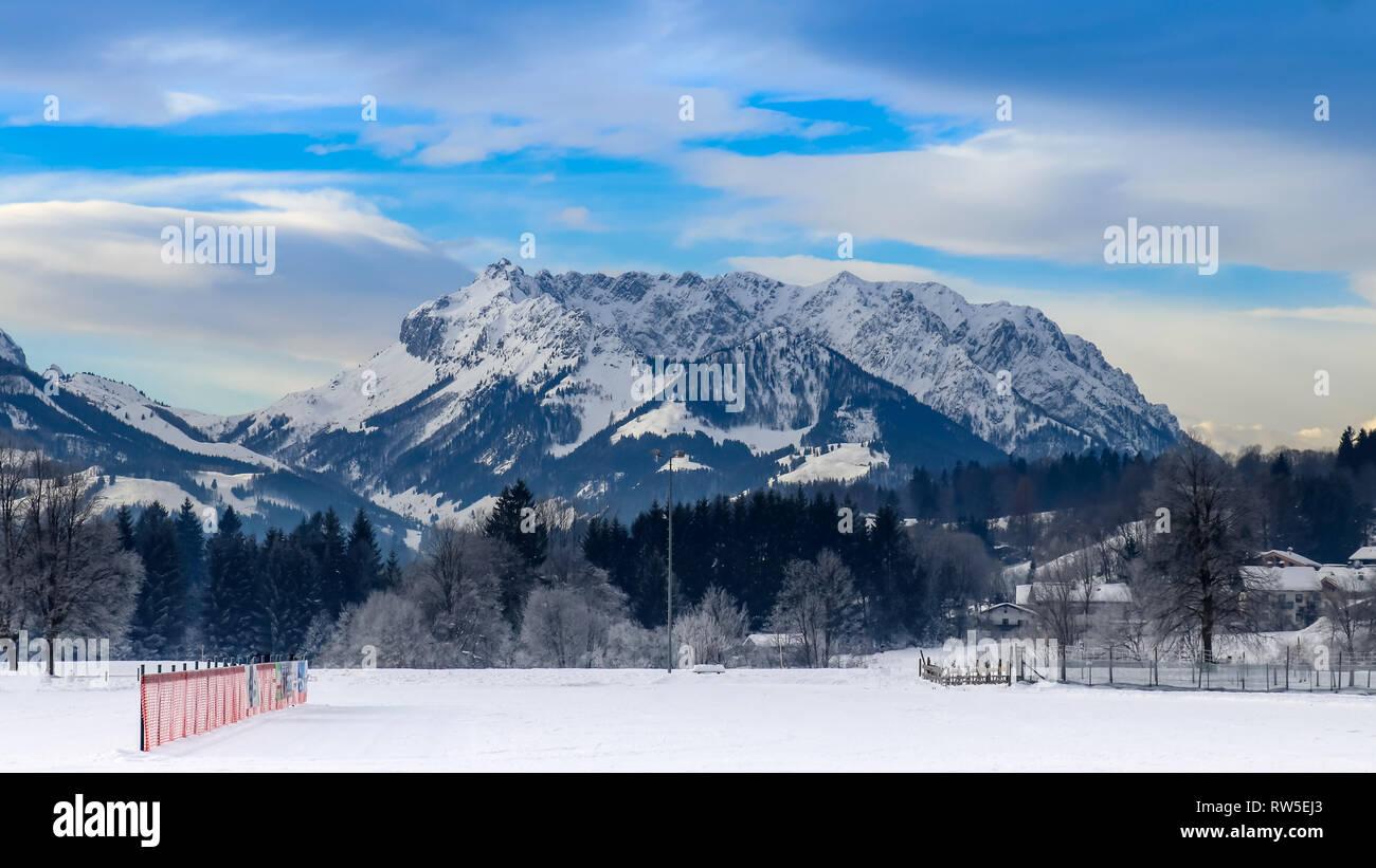 winter sport paradise in Bavaria with Kaisergebirge background, travel reit im winkl - Stock Image