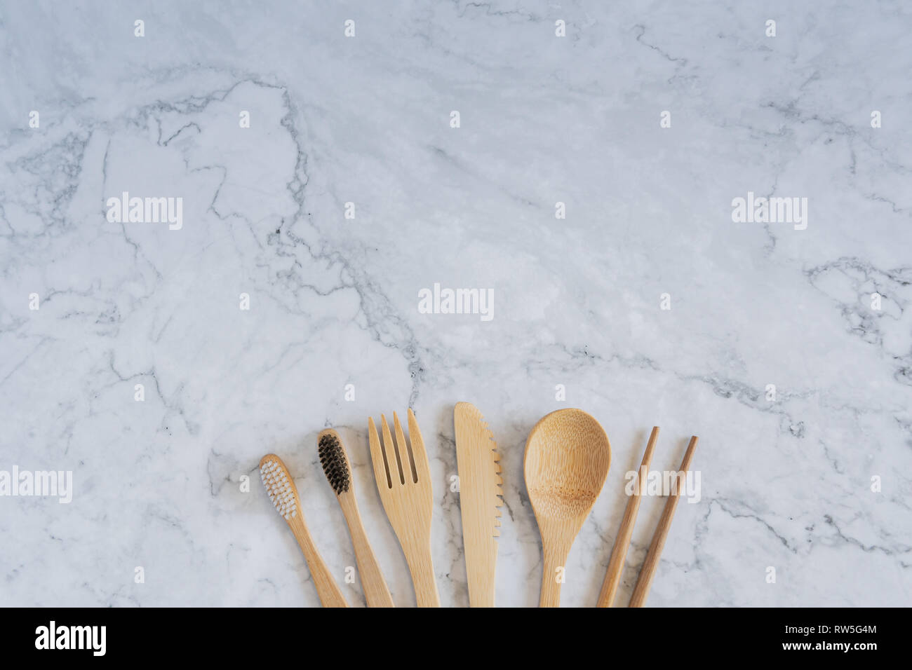 Bamboo Wood Toothbrush On Clean White Marble Table Top View ...