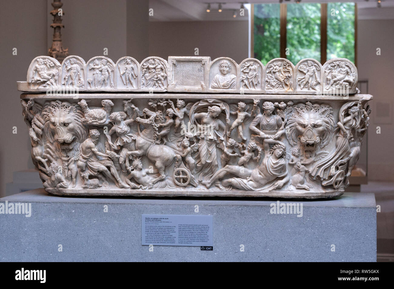 A Roman lenos-shaped marble sarcophagus with a myth of Selene and Endymion. The Metropolitan Museum of Art, Manhattan, New York USA - Stock Image