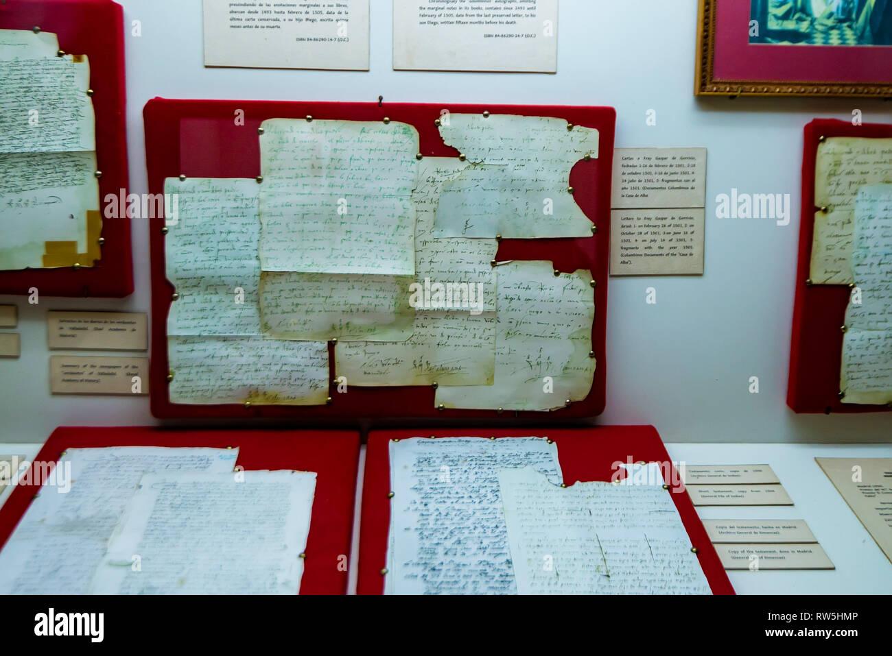 SANTO DOMINGO, DOMINICAN REPUBLIC - 31 OCTOBER 2015: Columbus diaries in museum - Stock Image