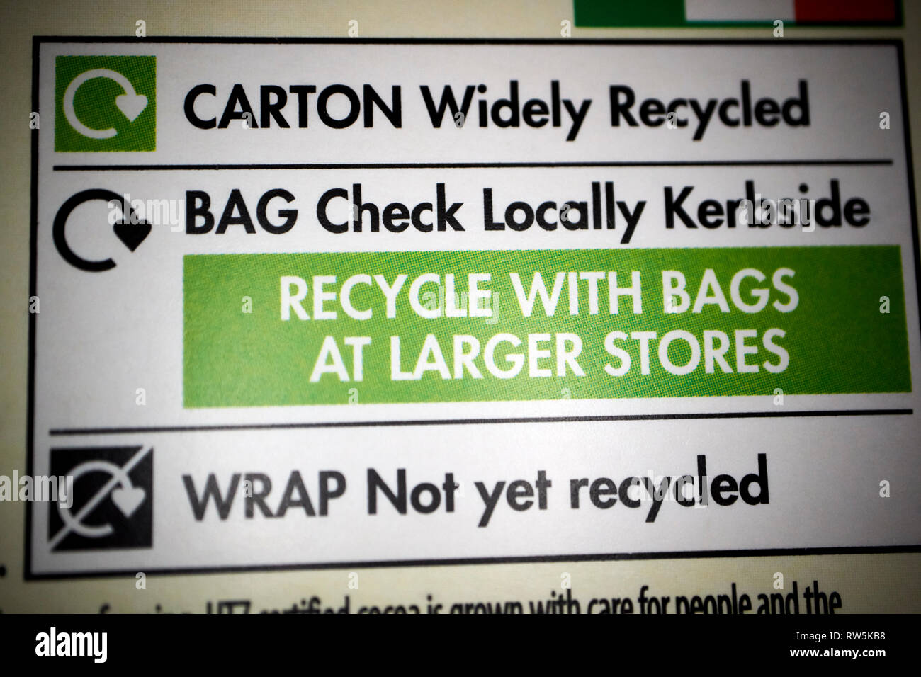 recycling information on a processed food package - Stock Image