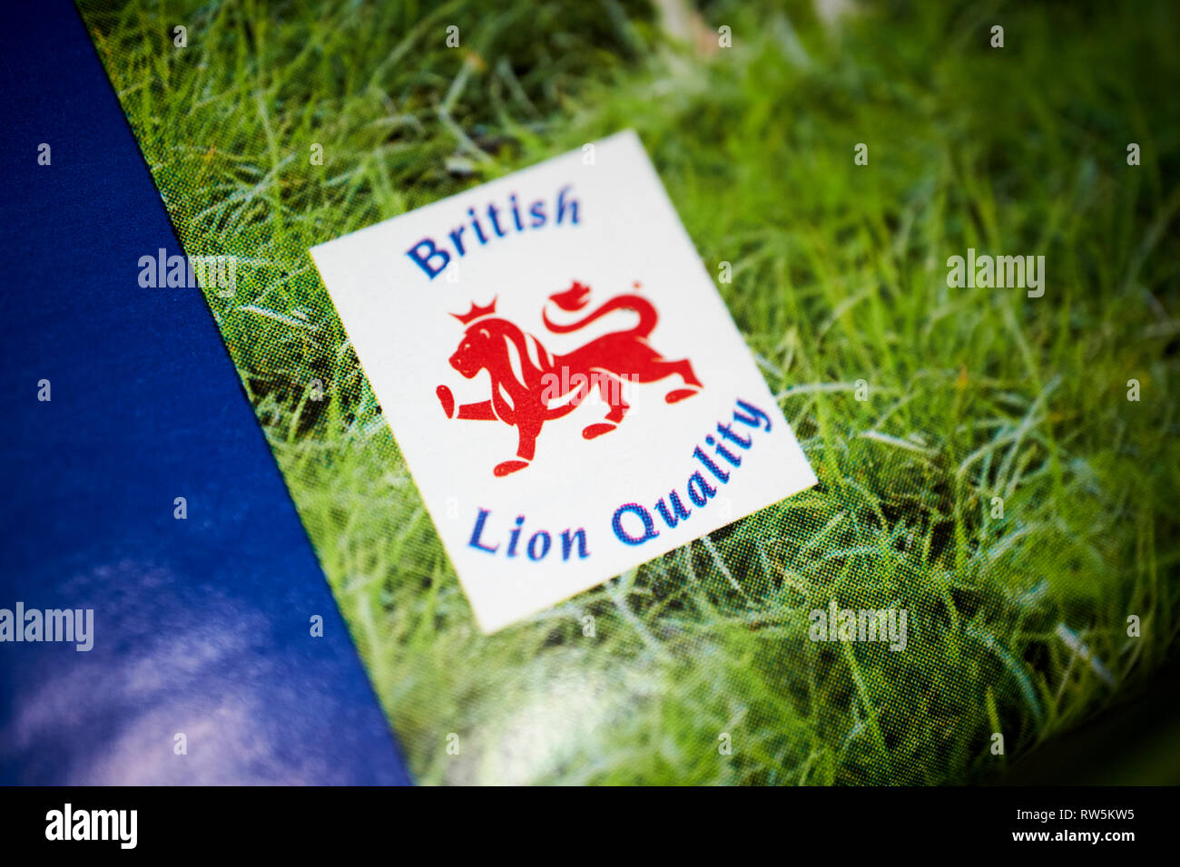 british lion quality mark food standards label on a pack of british eggs - Stock Image