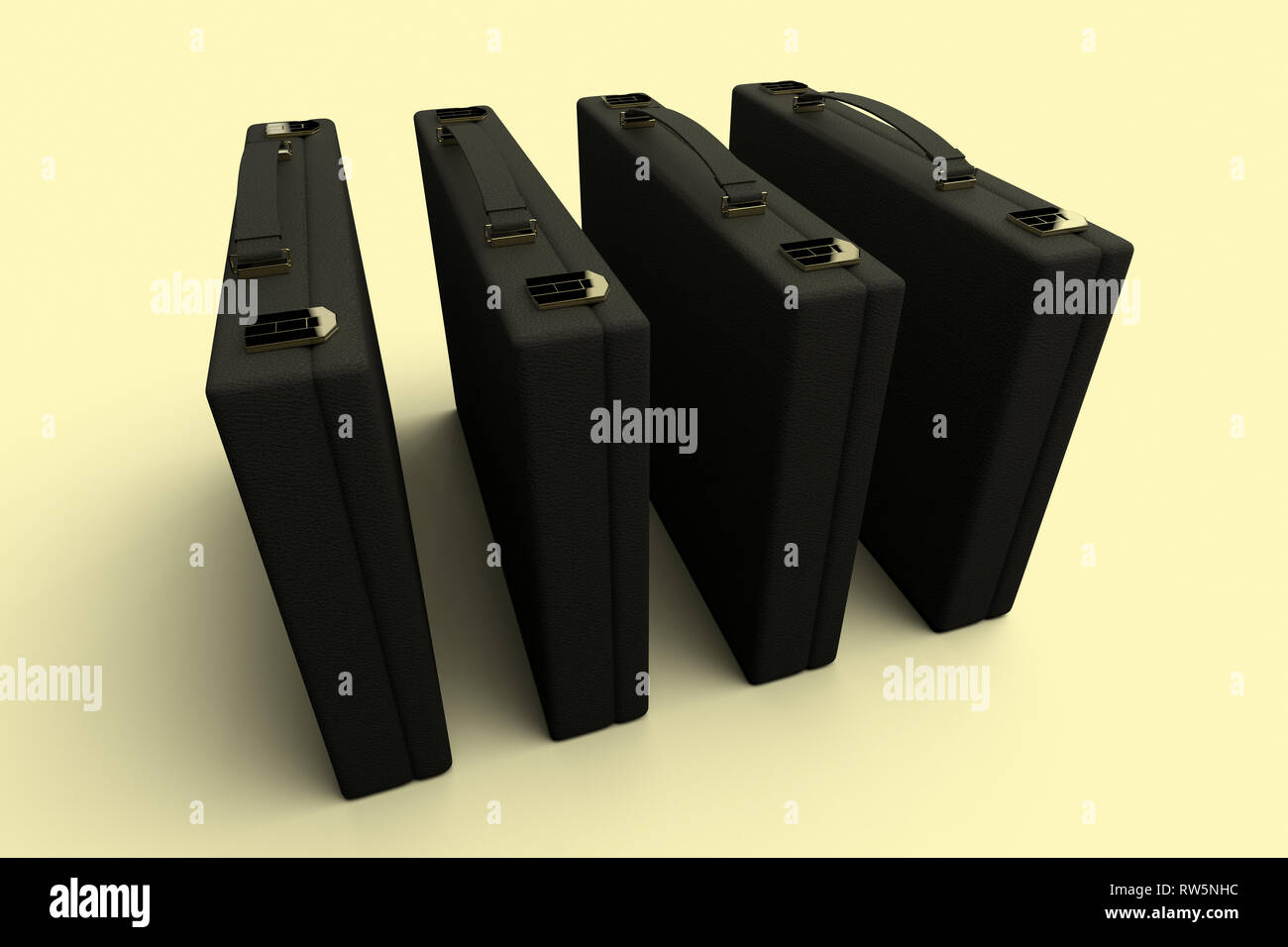 3D rendering of a group of 4 identical briefcases - Stock Image