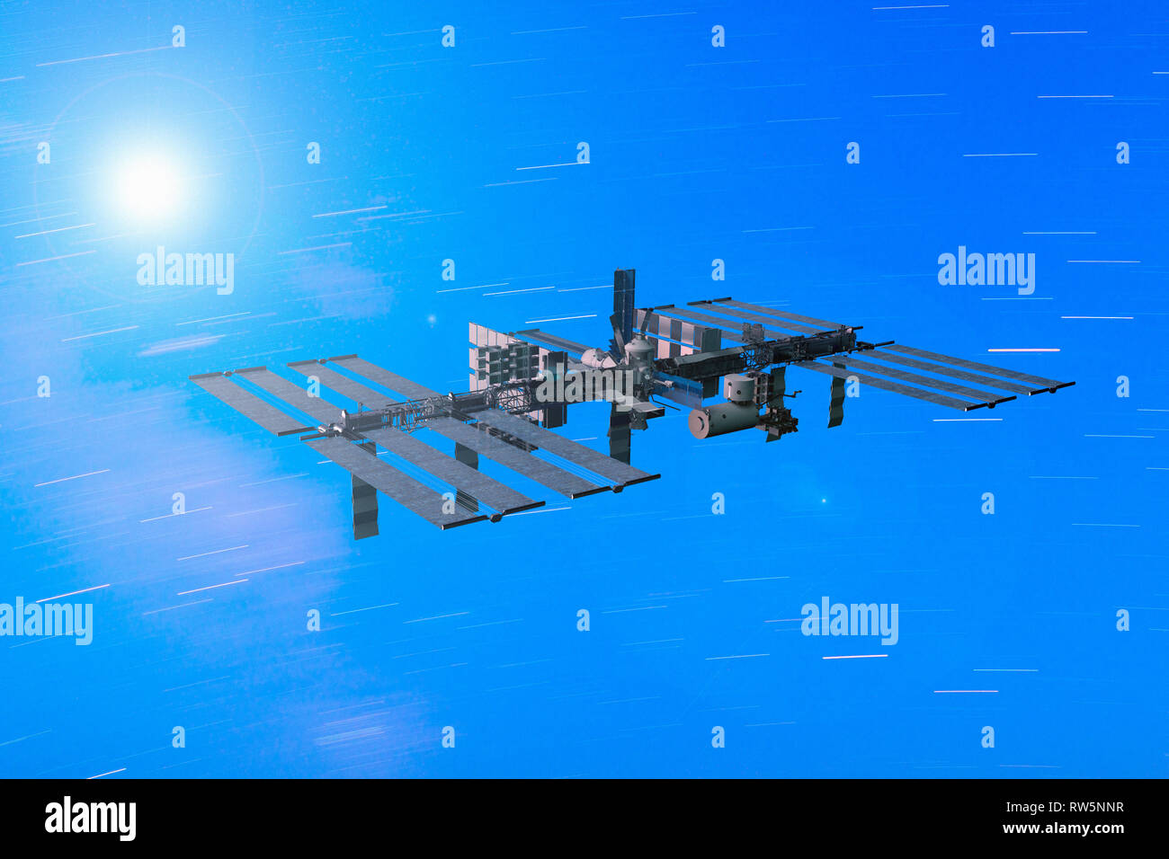 3D rendering of the International Space Station in orbit - Stock Image