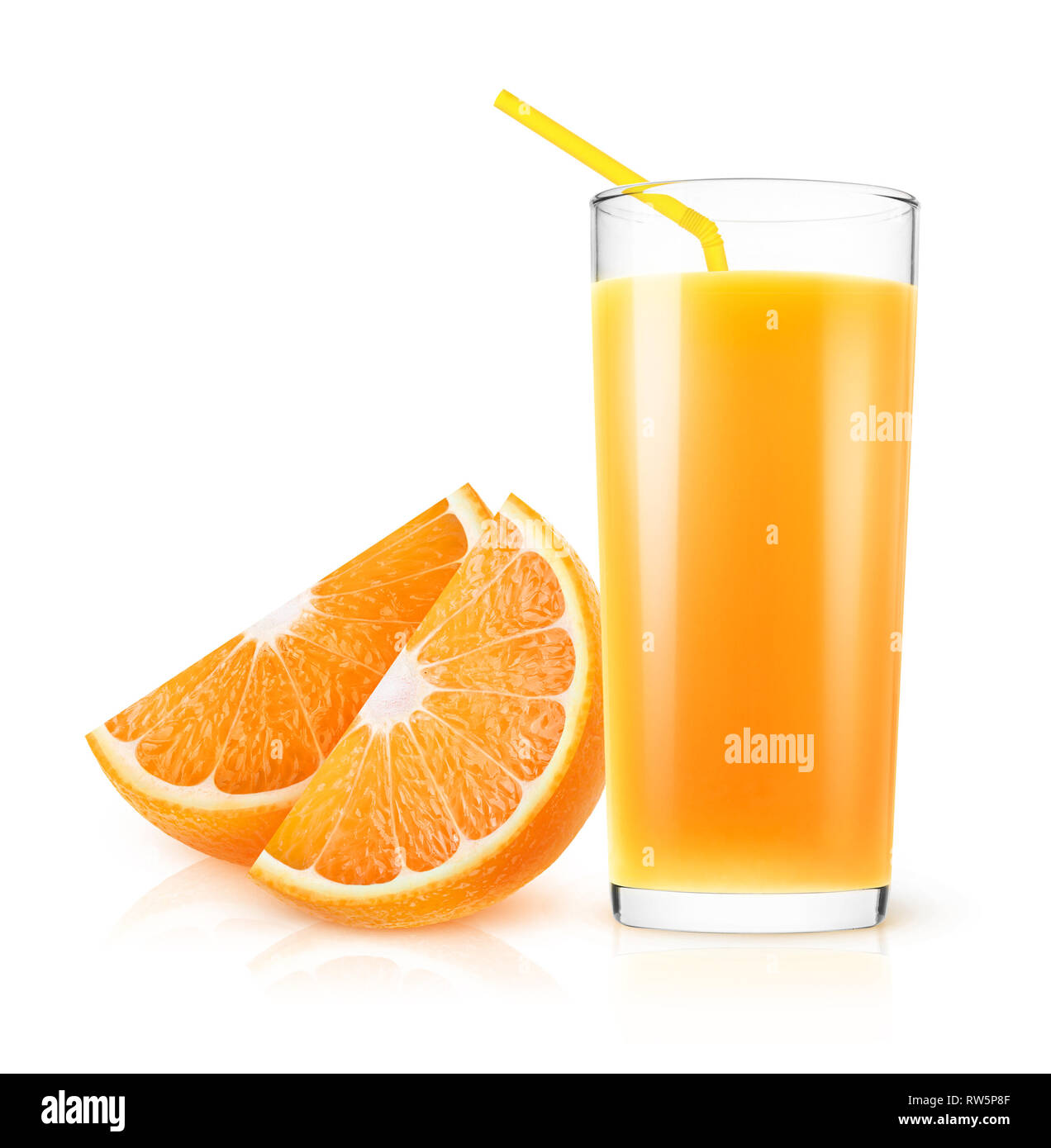 Isolated orange juice. Fresh orange juice in a glass and pieces of fruit isolated on white background with clipping path Stock Photo